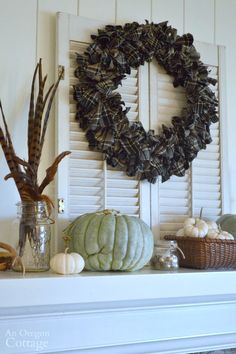 Make an easy DIY plaid wreath for your fall mantel