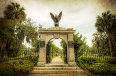 Entrance to the Colonial Park Cemetery, Savannah, Georgia.  The arch was commissioned by the Daughters of the American Revolution.