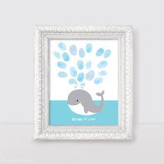 "whale fingerprint guest book for baby shower or birthday 10x8"" print nautical sea beach themed nursery art blue saying oceans of love animal on Etsy, $15.50"