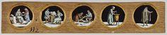 Anonymous | Vijf beroepen naar Het Menselyk Bedryf, Anonymous, Jan Luyken, Caspar Luyken, c. 1700 - c. 1790 | Vijf glaasjes met uitbeeldingen van beroepen in een houten vatting. Uiterst links: een advocaat ontvangt, zittend naast een tafel met boeken, een klant, die staat met een brief in de hand. Rechts daarvan: de dokter ontvangt, zittend achter een tafel met opengeslagen boek, een klant. In het midden: de chirurgijn verbindt het been van een op een stoel zittende man. Rechts daarvan: de…