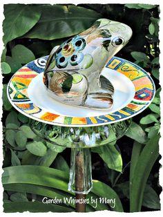Mexican Ceramic Frog Garden Totem Stake  by GardenWhimsiesByMary, $32.00