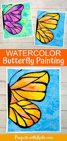 This beautiful watercolor butterfly painting combines oil pastels and watercolors. Kids will learn easy watercolor techniques to create this wow-worthy art! Kids Watercolor, Watercolor Projects, Butterfly Watercolor, Butterfly Art, Watercolor Techniques, Butterfly Painting Easy, Easy Painting For Kids, Easy Art For Kids, Easy Kids Art Projects