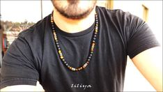 Long Necklace - Gemstone Necklace - Lava and Tiger eye Beaded Gemstones Necklace - Ethnic Necklace - Boho Necklace Gift for Men