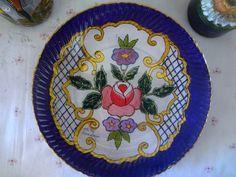 Prato de vidro  pintado a mão- técnica marroquina