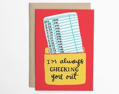 Valentines Day Card - Im Always Checking You Out - Library Card, Nerd Love, Book Nerd Card, Card for Her, Card for Him/C-217 ------------------------------------------------------------ DETAILS • one A6 card (4.5 x 6.25 inches - 114 x 159 mm) • one A6 kraft envelope (4.75 x 6.5 inches -