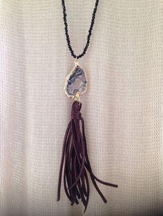 Druzy tassel bead necklace