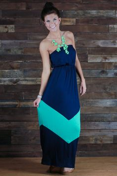 Navy and Mint Chevron Maxi - Maybe pair with a jean jacket??