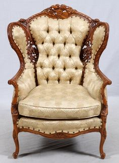 ~ Carved Walnut and Upholstered Parlor Chair ~ liveauctioneers.com