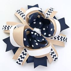 School uniform khaki tan navy white hair bow handmade private school boutique over the top hair clip Public School, Private School Uniforms, Vintage Kids Photography, Victorian Children's Clothing, Cute Quotes For Kids, School Uniform Fashion, White Hair Bows, Kids Outfits Girls, Girls Bows