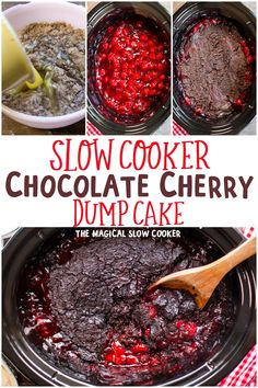 Make this easy Slow Cooker Chocolate Dump cake for your next event warm and gooey chocolate with tangy cherries. Serve warm with ice cream or whipped cream. - Slow Cooker - Ideas of Slow Cooker Slow Cooker Desserts, Crock Pot Desserts, Slow Cooker Recipes, Crockpot Recipes, Cooking Recipes, Easy Recipes, Top Recipes, Cream Recipes, Drink Recipes