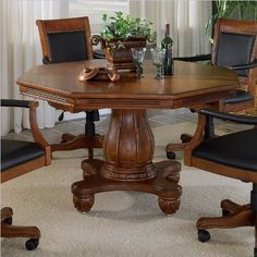 "Hillsdale Furniture 6004GTBC Kingston 57"" 5-Piece Game Set Including Table and Leather Back Game Chair with Cup Holders Casters Carved Detailing and Molding Detail in Light"
