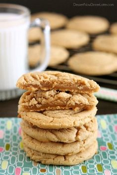 These Thick and Chewy Peanut Butter Cookies are slightly crisp on the outside, tender and soft on the inside, plus you just scoop and bake them! No rolling in sugar and pressing with a fork required!