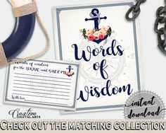 Words Of Wisdom For The Bride And Groom in Nautical Anchor Flowers Bridal Shower Navy Blue Theme, cards and sign, party planning - 87BSZ #bridalshower #bride-to-be #bridetobe