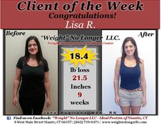 Congratulations to our Client of the Week: Lisa R. Thank you for allowing us to share your incredible results!! You look amazing, keep up the great work!! #Healthy #WeightLoss #SuccessStory #Before #After #IdealProtein #WeightNoLongerLLC