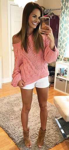 #fall #outfits women's pink sweatshirt and white shorts outfit