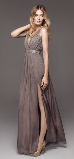Rosita in Taupe long dress (in Jul 2012). Love this colour!    followpics.co