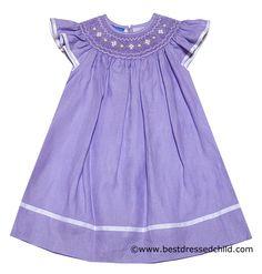 Anavini Girls Lilac Lavender Linen / Lined Smocked Bishop Dress - Angel Sleeves