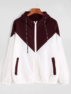 Shop Color Block Drawstring Hooded Zip Up Jacket online. SheIn offers Color Block Drawstring Hooded Zip Up Jacket & more to fit your fashionable needs. Windbreaker Jacket, Hooded Jacket, White Windbreaker, Jugend Mode Outfits, Mode Grunge, Sports Jacket, Casual Fall, Women's Casual, Zip Ups