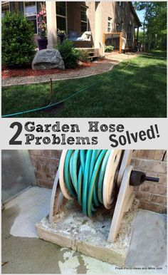 Two garden hose problems solved easily. If you get annoyed with your garden hose getting in the way of your plants and such, check out how we solved that issue and another common problem: http://www.front-porch-ideas-and-more.com/garden-hose-storage-box.html