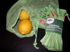 again & a-gain - eine Alternative zu Einwegtaschen im Obst- und Gemüsebereich. Wiederverwendbare Einkaufstaschen aus Baumwolle oder recyceltem...