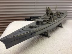 Vintage WWII Battle Ship Model With Stand Built 1960s Good To Restore