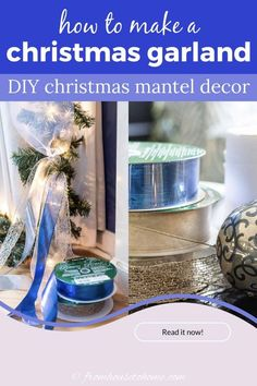LOVE this easy DIY Christmas garland tutorial! It has all the steps to create a beautiful garland over the fireplace mantle, including adding lights, ribbon and ornaments. Very pretty Christmas holidays decorations! #fromhousetohome #christmas #DIYChristmas #Xmas #fireplace #christmasdecor Christmas Fireplace Garland, Diy Christmas Mantel, Blue Christmas Decor, Diy Christmas Decorations For Home, Fireplace Mantle, Xmas, Christmas Holidays, White Christmas, Diy Garland