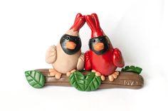 Cardinal Love Birds Clay Figure by MeganMakesArt on Etsy  #animals #birds #cardinals #red#love #couple #anniversary #wedding  www.facebook.com/MLDClayCreations www.etsy.com/shop/MeganMakesArt