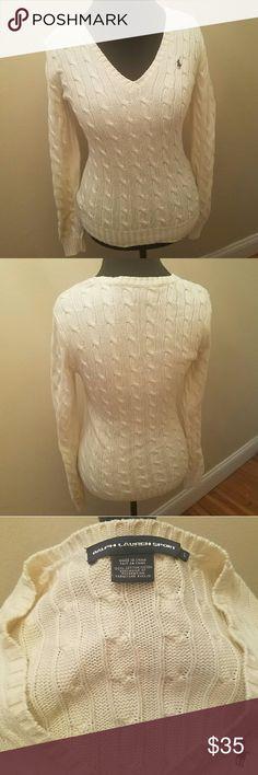 Ralph Lauren Cableknit Sweater Worn once!  Like new cableknit cream sweater by Ralph Lauren Sport.  100% cotton. Ralph Lauren Sweaters V-Necks