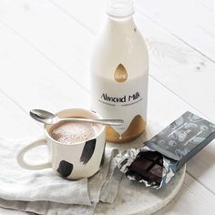 Hot chocolates were meant for the weekends, and makes them all the more tastier! Treat yourself with one today! Almond Milk Coffee, Treat Yourself, Chocolates, Hot Chocolate, Caramel, Tasty, Treats, Photo And Video, Bottle