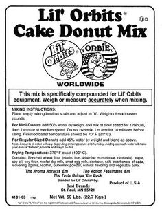 Lil Orbits Mini Donut Making Supplies Donut Mix Recipes Doughnut Icing And Flavored Donuts Donut Mix Mini Donut Recipes Mini Donuts
