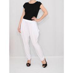 Harem Pants White Pants Loose fit trousers Drop crotch pants Baggy Pants