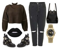 """""""princess grunge"""" by lejlafazlic ❤ liked on Polyvore featuring Topshop, Chicnova Fashion, Balenciaga, Charlotte Olympia, Rolex and Lime Crime"""