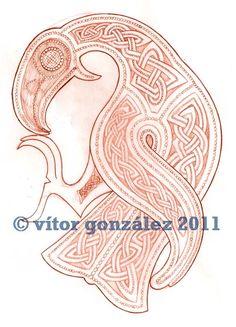 Viking Raven by twistedstrokes Viking Raven, Viking Art, Viking Woman, Backpiece Tattoo, Raven Tattoo, Viking Designs, Celtic Designs, Vikings, Norse People