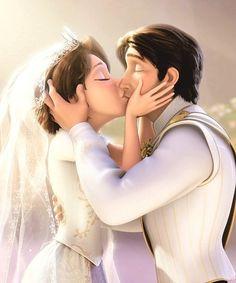 Rapunzel and Flynn Rider sharing a romantic kiss on their Wedding Day in Tangled Ever After Walt Disney, Disney Pixar, Gif Disney, Disney Couples, Disney Tangled, Disney And Dreamworks, Disney Animation, Disney Magic, Disney Art