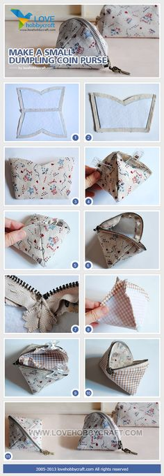 How to make various coin purses, purses and cases- Come realizzare dei Portamonete, borsellini e astucci vari riciclando la stoffa coin purse: - Sewing Hacks, Sewing Tutorials, Sewing Patterns, Sewing Ideas, Purse Patterns, Fabric Crafts, Sewing Crafts, Sewing Projects, Sewing Diy