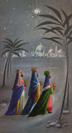 #709 60s Norcross Glittered Three Kings-Magi-Vintage Christmas Card-Greeting