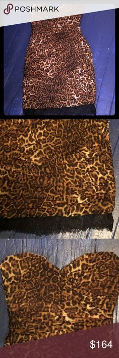 Shop Women's BCBGMaxAzria Brown Tan size 10 Mini at a discounted price at Poshmark. Description: BCBG MAXAZARIA Strapless Leopard Mini Dress with Black lace hem Size 10 New With Tags! Plus Fashion, Fashion Tips, Fashion Design, Fashion Trends, Bcbgmaxazria Dresses, Black Laces, Cute Tops, Size 10, Tags