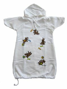 Gambies Unisex-Baby Playful Pooch Hooded Gown Grows with Baby White One Size USA Grown & Sewn. Pre-washed & Pre-shrunk. Hand-silkscreened. Convenient Hood. Swaddle to Toddle Growth Feature.  #Gambies #Apparel
