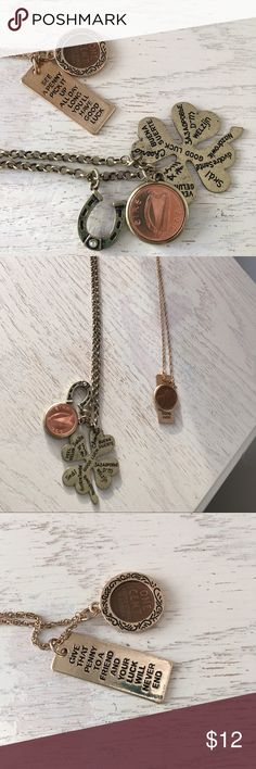 """Two Good Luck charming necklaces Two cute necklaces both featuring a good luck theme. One is a clover with a penny and horseshoe. The other is a penny with """"see a penny"""" quote . They both have an antiqued - older look and that is how they came. They are mixed metal and purchased from Overstock and never worn. These would be a great graduation gift or for someone embarking on a new life venture. Cat friendly/ Smoke free home Jewelry Necklaces"""