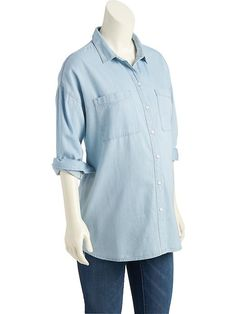 4ba10f14291ee Maternity Lightweight Chambray Boyfriend Shirt Bump Style, Discount Clothing,  Maternity Wear, Boyfriend Shirt