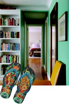 Rita Konig's apt.   jade green walls