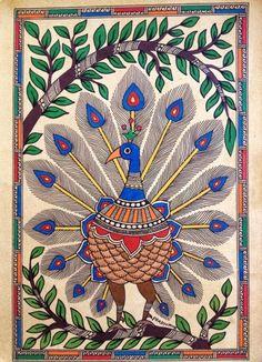 The General Characteristics of Madhubani Paintings: An Indian Folk Art! Madhubani Paintings Peacock, Kalamkari Painting, Madhubani Art, Worli Painting, Kerala Mural Painting, Bird Paintings On Canvas, African Art Paintings, Peacock Wall Art, Peacock Painting
