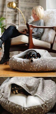DIY #DogBed tutorial at www.LiaGriffith.com #dogsdiycrafts
