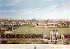Arco della Pace e caselli della Porta Sempione stampa con veduta panoramica