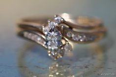 Vintage 10k Yellow Gold & Genuine Diamond Wedding Double Ring Set Engagement Marquise Channel via Etsy