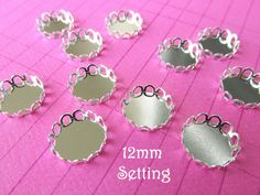 10 Silver Plated  Cabochon Setting  12mm  by theglassconnection, $3.00
