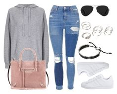 """""""Style #11659"""" by vany-alvarado ❤ liked on Polyvore featuring Topshop, adidas Originals, Balenciaga, Ray-Ban, Links of London and Forever 21"""