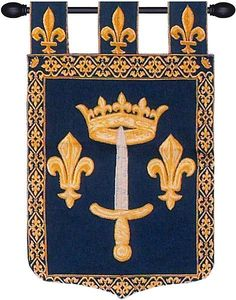 Woven in Belgium History: Jehanne D Arc is a European jacquard wall tapestry depicting the Coat of arms of Joan of Arc. This famous woman of history was born in