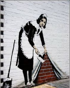 Banksy sweeping maid graffiti shows a maid lifitng up part of a wall like a curtain to sweep some dust under it. This graffiti roller blind would make a great gift for the banksy lover 3d Street Art, Street Art Banksy, Amazing Street Art, Street Artists, Banksy Graffiti, Graffiti Kunst, Best Graffiti, Graffiti Artwork, Bansky