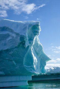 'A face in the ice' (by Lori Kisla). Penola Strait, near Petermann Island, Antarctica